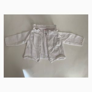 Gymboree Girls White Cardigan 3-6 months - Used
